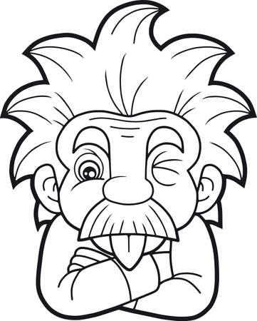 Cartoon funny Einstein shows his tongue