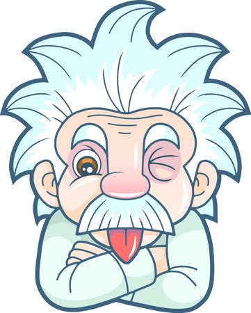 cartoon funny Einstein shows his tongue