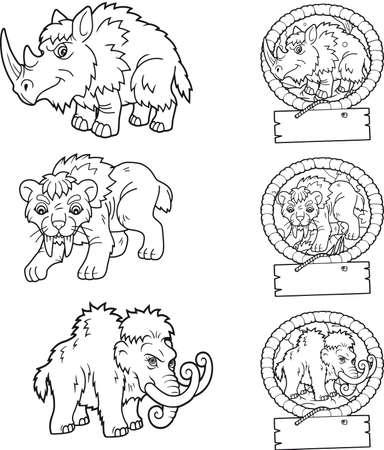 cartoon oude dieren set beelden