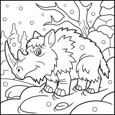Ilustración De Dibujos Animados De Rinoceronte Lanudo En Invierno ...