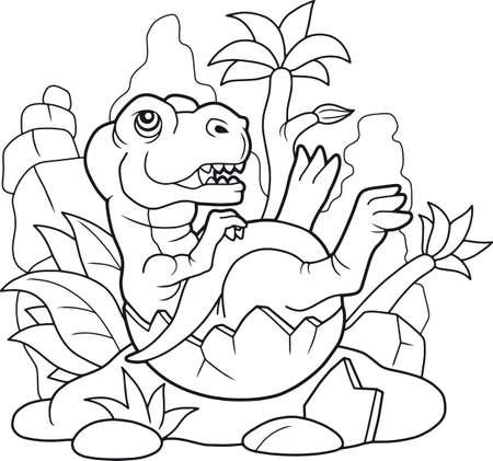 cartoon cute tyrannosaurus coloring book