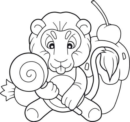 cartoon cute lion with candy Ilustracja