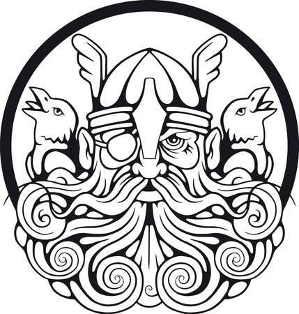 Scandinavian god Odin and his ravens