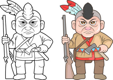 cartoon Indian warrior, funny image Illustration