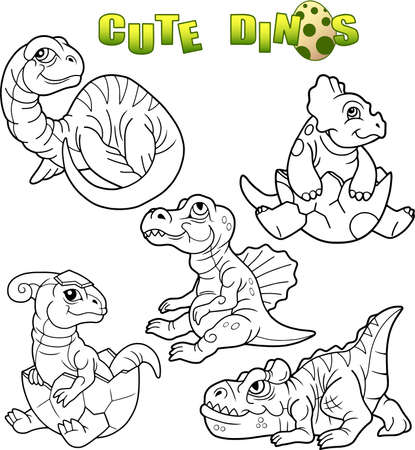 만화 귀여운 공룡 세트 일러스트