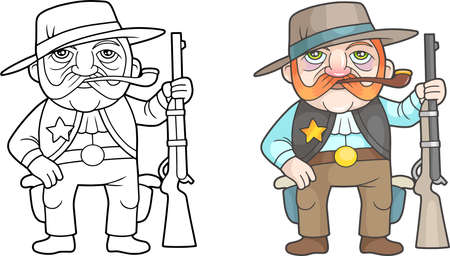 cartoon funny sheriff with rifle in hand