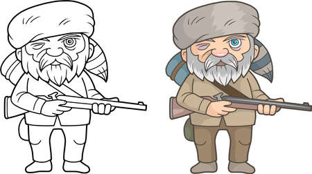 Cartoon funny man with a rifle in his hands.