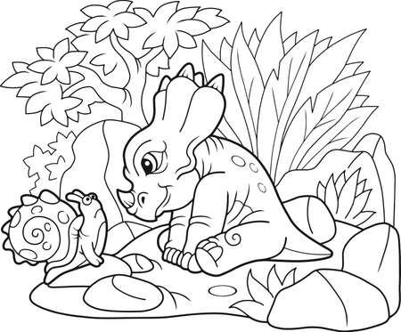 cartoon cute styracosaurus looking at snail Illustration