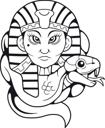 Egyptian queen with cobra icon. Illustration