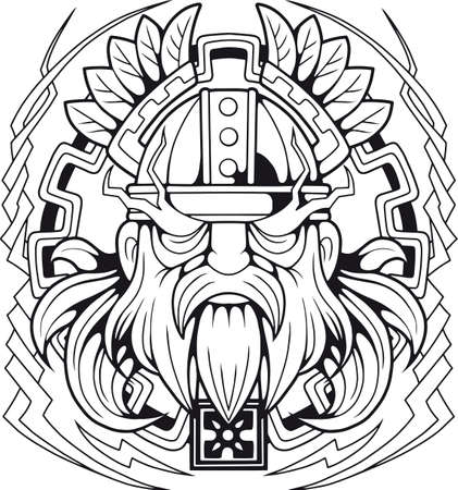mythological scandinavian god of thunder Vector illustration.