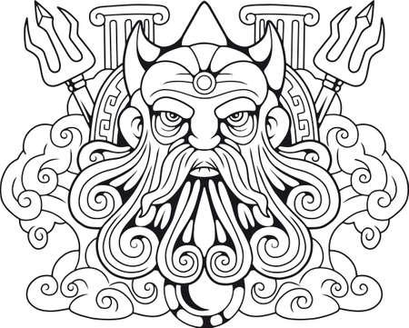legendary ancient Greek god Poseidon, Lord of the Seas Çizim