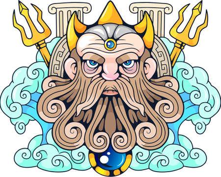 legendary ancient Greek god Poseidon, Lord of the Seas Illustration