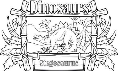 cartoon ancient stegosaurus, coloring book Vettoriali