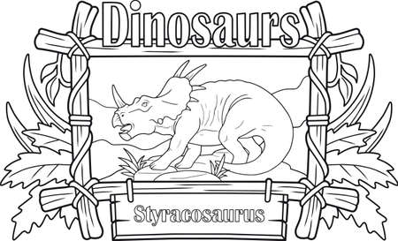 Prehistoric dinosaur, styracosaurus, coloring book Illustration