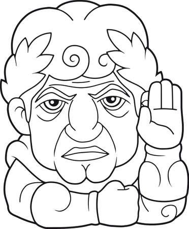 Legendary emperor of Rome Guy Julius Caesar, funny illustration  イラスト・ベクター素材