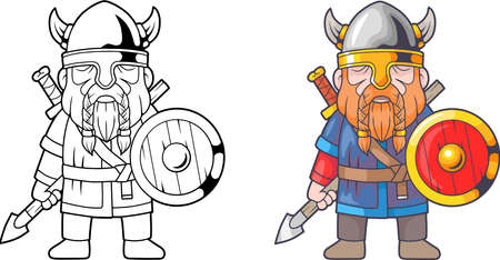Cartoon funny viking, coloring book Illustration