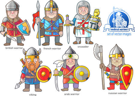 A funny medieval warriors, set of cartoon images Illustration
