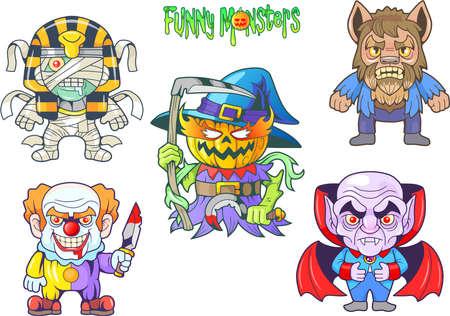 Cartoon cute monsters, set of vector images.