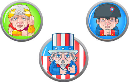 cartoon historical characters, set of funny images Vector illustration.  イラスト・ベクター素材