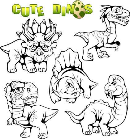 cartoon cute prehistoric dinosaurs, set of vector images