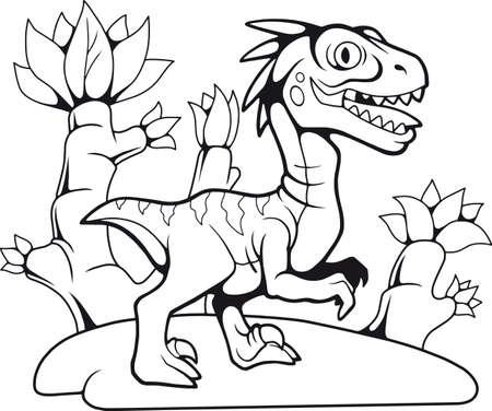 cartoon funny prehistoric velociraptor, contour drawing, coloring book Illustration