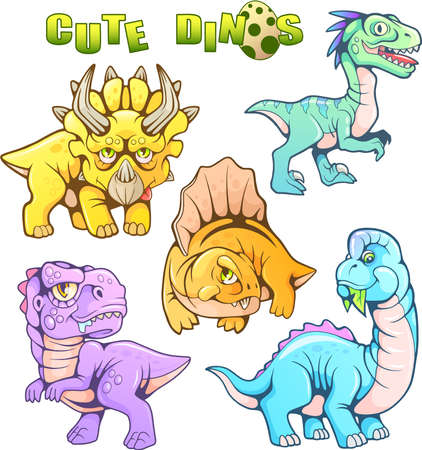 cartoon cute prehistoric dinosaurs, set of funny vector images Stock Vector - 103518900