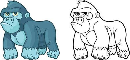 cartoon cute little gorilla, design funny illustration Иллюстрация