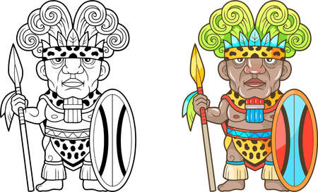 cartoon african warrior, funny illustration, coloring book