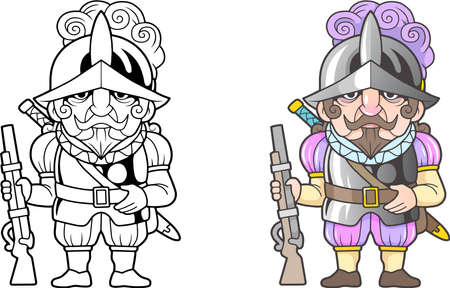 cartoon Spanish warrior conquistador, funny illustration, coloring book