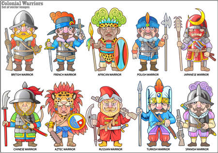 cartoon warriors of the colonial era, set of vector images Stock Illustratie