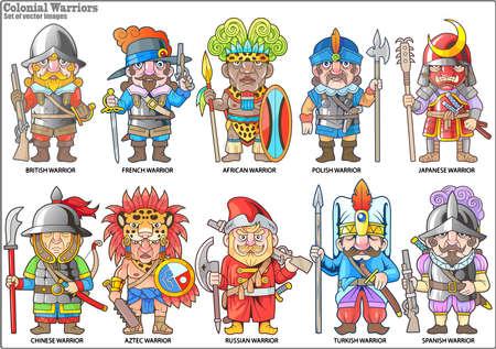 cartoon krijgers van het koloniale tijdperk, set van vectorafbeeldingen