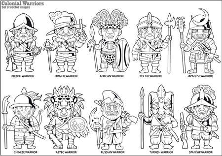 cartoon warriors of the colonial era, set of vector images Vector Illustration