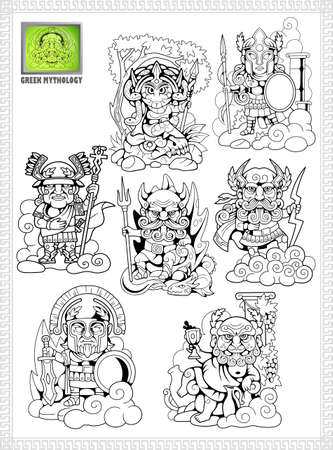 cartoon, ancient greek gods, set of funny vector illustrations Foto de archivo - 109108958