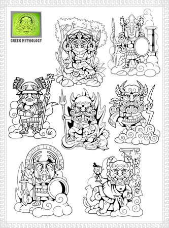 cartoon, ancient greek gods, set of funny vector illustrations