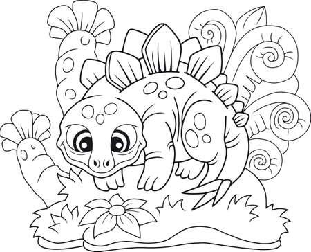 cartoon cute stegosaurus, funny illustration coloring book Illustration
