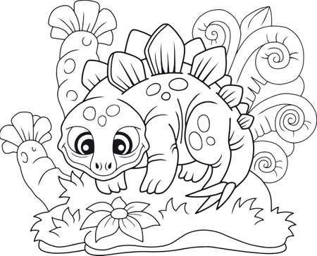 cartoon cute stegosaurus, funny illustration coloring book Ilustracja