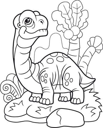 cute cartoon dinosaur apatosaurus, funny illustration, coloring book Stock Vector - 109611428