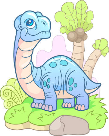 cartoon, cute dinosaur apatosaurus, funny illustration