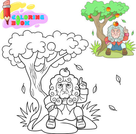 apple on his head coloring book Illustration