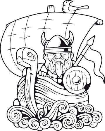 cartoon funny viking floating on the ship coloring book Illusztráció
