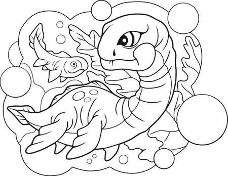 cartoon cute little plesiosaurus, coloring book, funny illustration