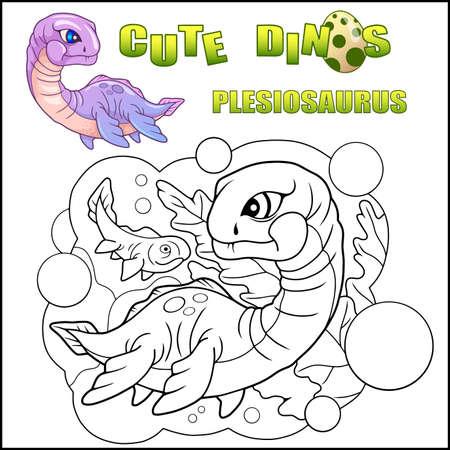 cartoon cute dinosaur plesiosaurus coloring book funny illustration