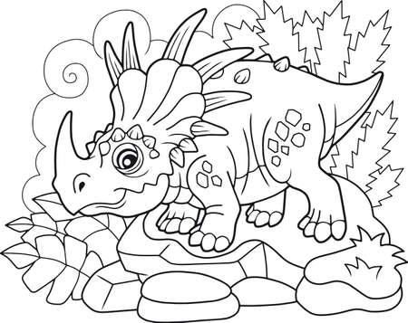 dessin animé mignon dinosaure préhistorique styracosaurus, livre de coloriage, illustration drôle