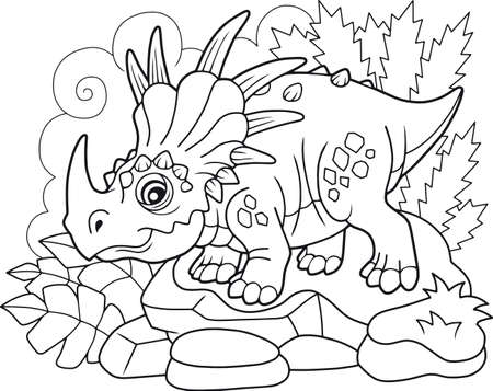 cartoon cute prehistoric dinosaur styracosaurus, coloring book, funny illustration Illustration