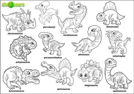 Cute dibujos animados dinosaurios prehistóricos, libro para colorear, conjunto de imágenes