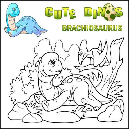 little cartoon prehistoric dinosaur brachiosaurus, coloring book, funny illustration