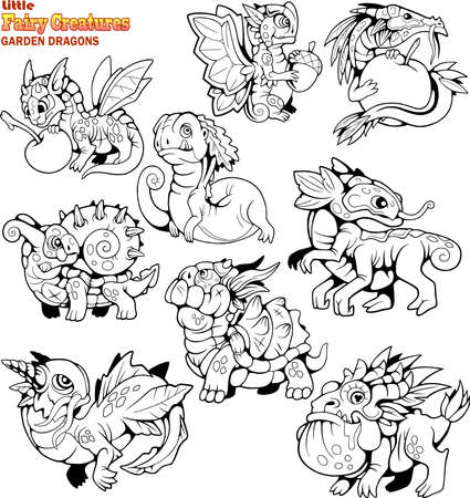 cute, small, cartoon, garden dragons, coloring book, set of funny images Banco de Imagens - 122269483