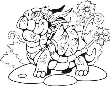 cute little cartoon turtle dragon coloring book, funny illustration Banco de Imagens - 122269484