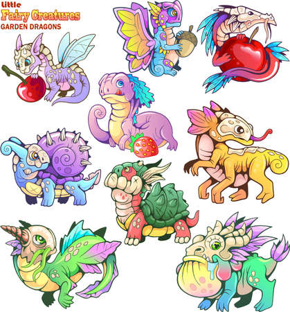 Cute, small, cartoon, garden dragons, set of funny images Banco de Imagens - 122269485