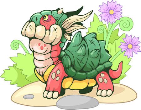 Cute little cartoon turtle dragon, funny illustration Иллюстрация